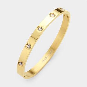 Crystal Round Stainless Steel Hinged Bracelet